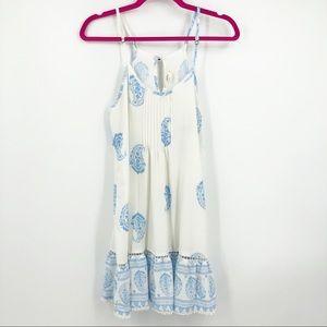 Ocean Drive Shift Dress Spaghetti Strap White Blue
